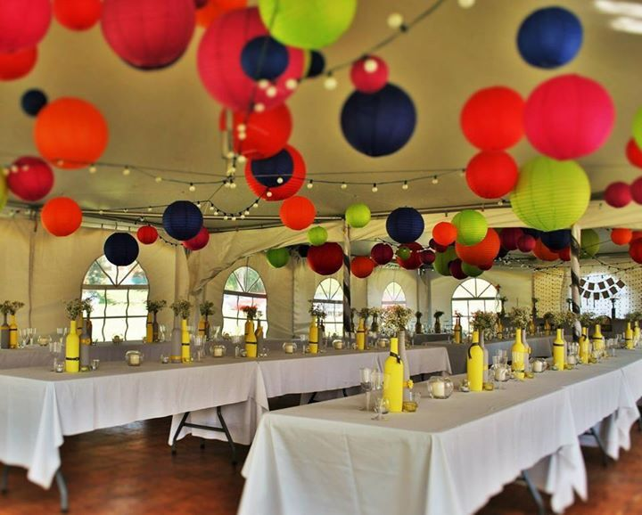 Pop of color with paper lanterns @ my yellow and grey wedding.