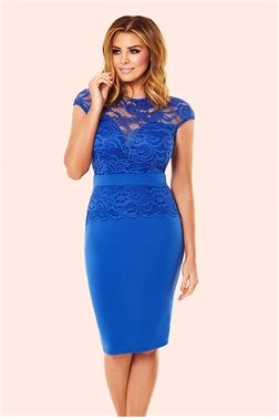 Jessica Wright's Bliss Cobalt Lace Detail Bodycon Dress from the Sistaglam Occasion Wear and Wedding Collecton £70.00