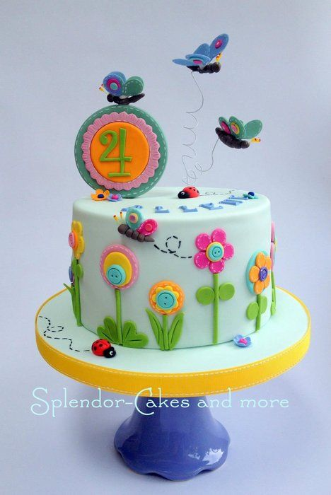 Flowers and butterflies - by splendorcakes @ CakesDecor.com - cake decorating website