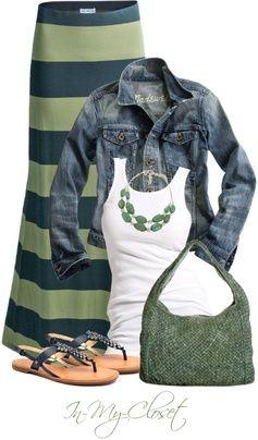 maxi and denim jacket