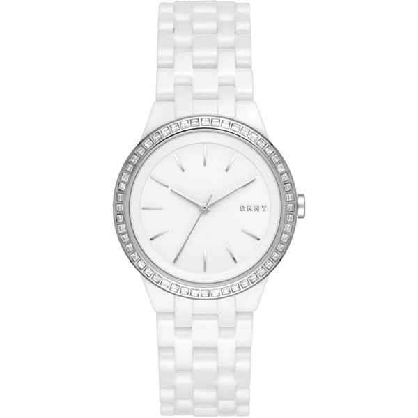 DKNY Park Slope White Ceramic Watch With Glitz (480 BGN) ❤ liked on Polyvore featuring jewelry, watches, no color, white wrist watch, dkny jewelry, ceramic jewelry, dkny and ceramic watches