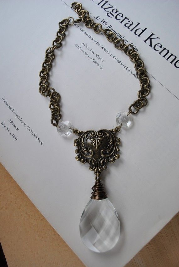 321 best chandelier jewelry images on pinterest jewelry ideas antique reclaimed chandelier crystal necklace by sarahrenaejewelry aloadofball Choice Image