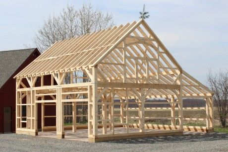 Completed Timber Frame: 22' x 32' Carriage Barn with 10' Lean-To (Ellington CT)