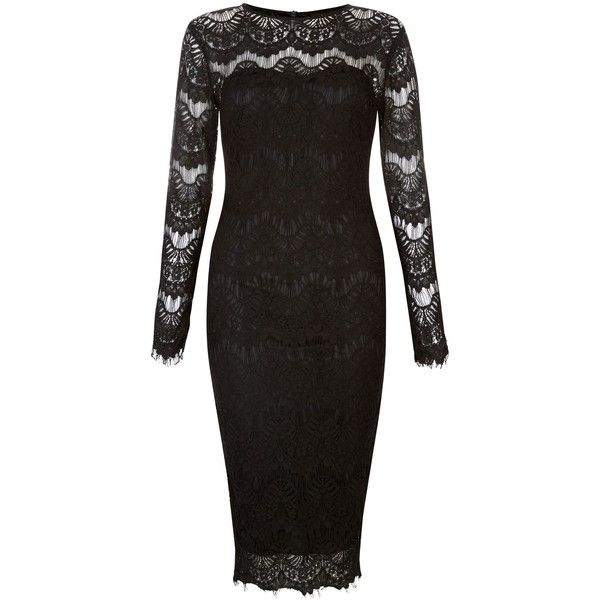 New Look AX Paris Black Lace Long Sleeve Midi Dress (£35) ❤ liked on Polyvore featuring dresses, black, midi dress, long-sleeve lace dress, holiday dresses, long sleeve evening dresses and lace dress