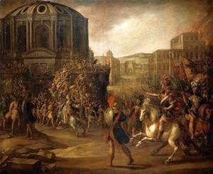 Battle Scene with a Roman Army Besieging a Large City  Juan De La Corte