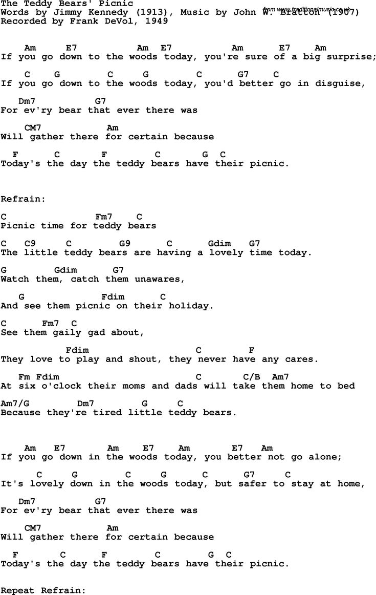 93 best nursery rhymes for mattie images on pinterest toddler song lyrics with guitar chords for teddy bears picnic the frank devol hexwebz Image collections