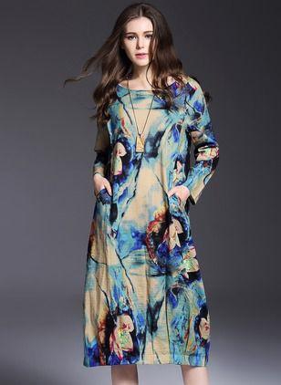 Bawełna Długi Rękaw Do Połowy Łydki Vintage Żadne Suknia