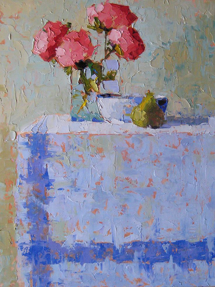 Peonies on Blue by Carol Maguire