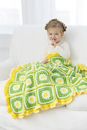 Fresh as a summer daisy, this pretty blanket is perfect for baby or toddler. Crochet it in bright shades as shown, or softer colors if you please. Then add a ruffle for the perfect finishing touch!