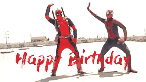 funny deadpool happy birthday gif