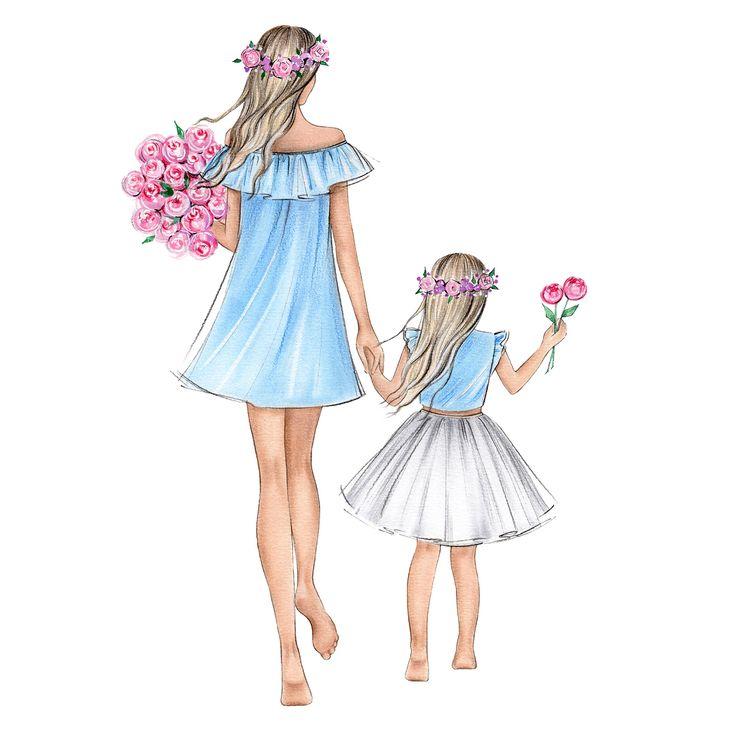 картинки фэшн иллюстрации мама и дочь извините, вас есть