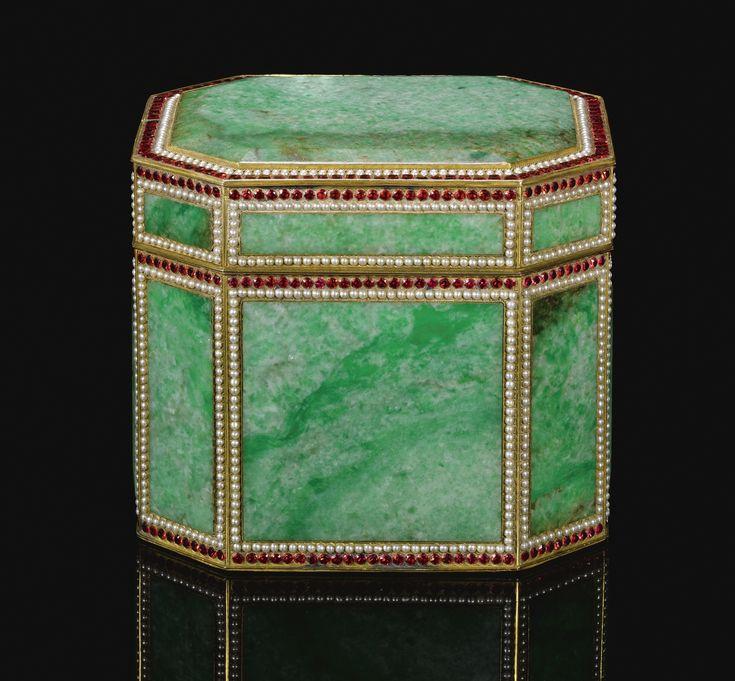 An important Ottoman gem-set, jadeite and tombak-mounted casket, Turkey, 19th Century