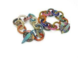 Beaded bracelets in circular peyote technique