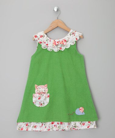 Take a look at this Green Cat & Mouse Corduroy Dress - Infant, Toddler &…