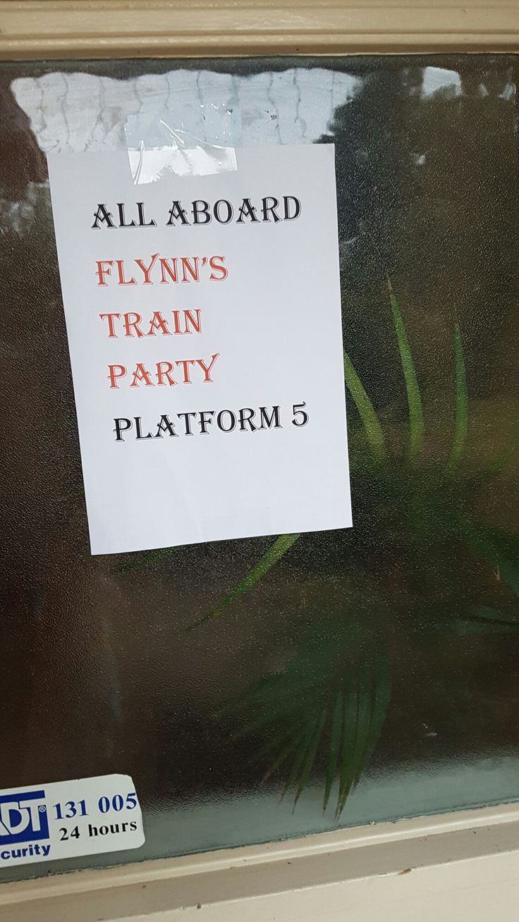 Train party welcome sign
