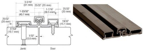 """CRL Dark Bronze 200 Series Standard Duty 83"""" Full Surface Continuous Hinge by CR Laurence by CR Laurence. $194.14. Color: Dark Bronze Length: 83 in (2.11 m) For Doors Weighing Up to 200 Lbs. (90.7 kg) Available in Satin Anodized and Dark Bronze Anodized Finishes Available in Both Standard and Heavy Duty Models These CRL Full Surface Continuous Hinges have load bearing blocks every 5-1/8 inches (130.2 millimeters) on the Standard Duty Hinge, and every 2-9/16 inches (65.1 millimete..."""