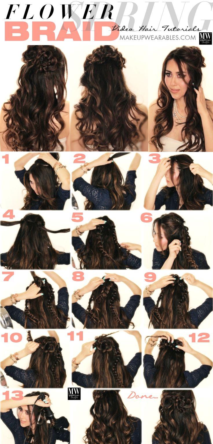 Romantic long hairstyles with curls flower braid hair tutorial Spring Flower Bra…