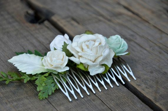 Ivory and Green Hair comb Ivory and green by FaberAccessories