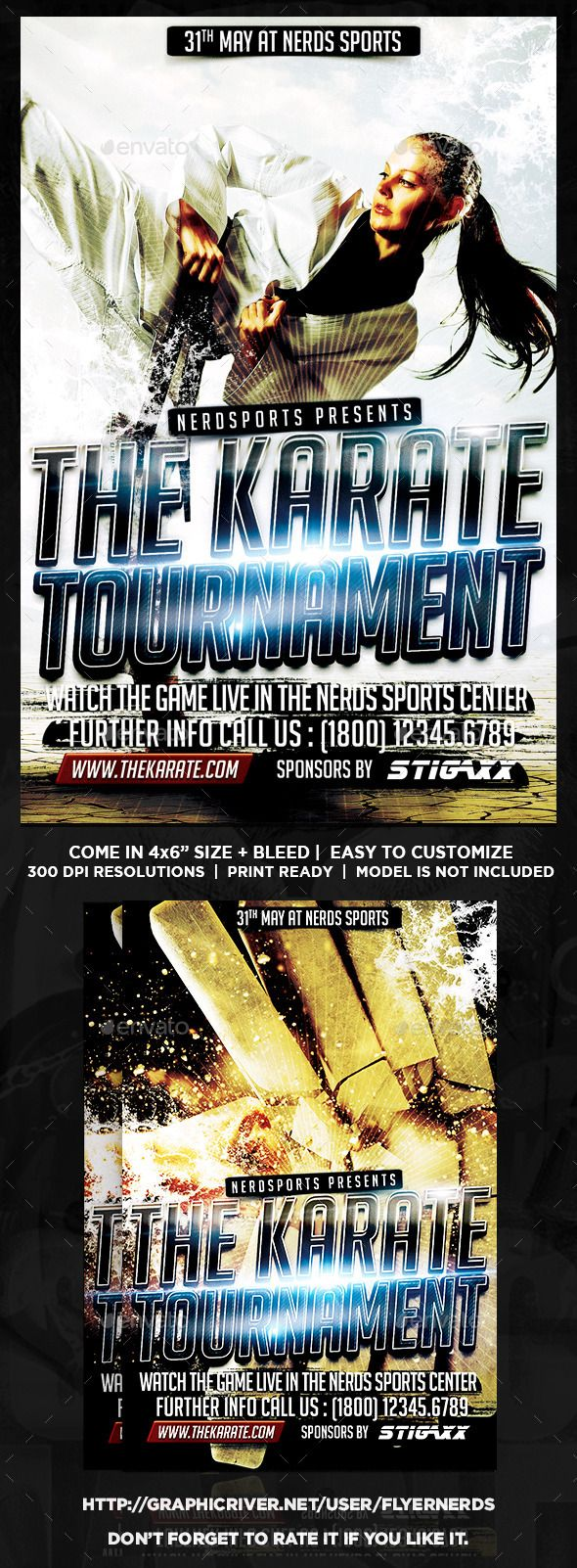 Karate Tournament Sports Flyer by flyernerds Karate Tournament Sports FlyerDescription :46 with bleedPrint Ready ( CMYK, 300DPI ) Easy to edit and fully customizable Model Ima