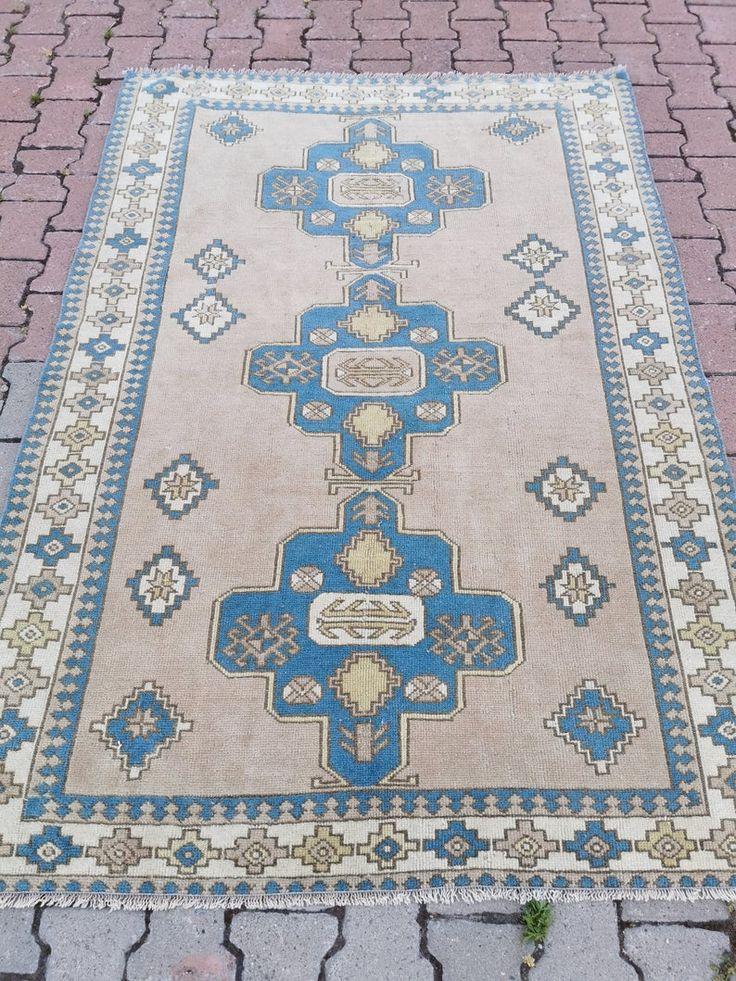 Vintage Turkish Handwoven 4.2x6.5 Ft Oushak Rug Wool Low