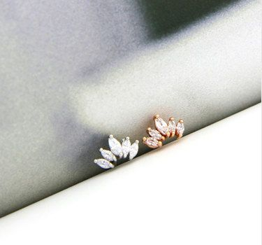 CZ Crown cartilage studs, simple tragus earring, flat back conch earring, dainty studs, rose gold stud earring, crystal cartilage piercing