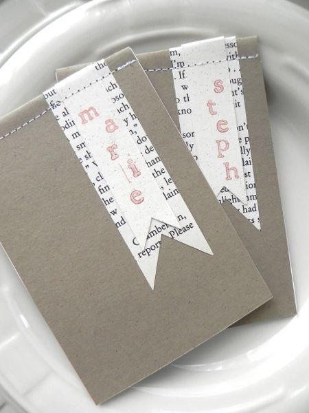DIY notepad favors with sweet personalized flags cut from a classic novel. Full favor tutorial at the source link.