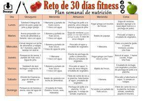 Plan semanal de nutrición para bajar de peso.   Reto de 30 días Fitness