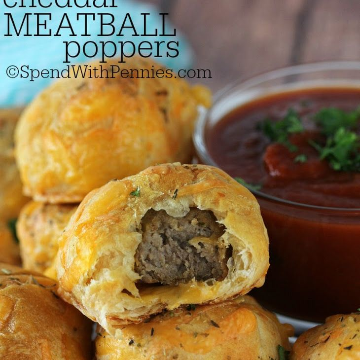 Cheddar Meatball Poppers Recipe Appetizers with meatballs, dough, shredded cheddar cheese, italian seasoning, tomato sauce