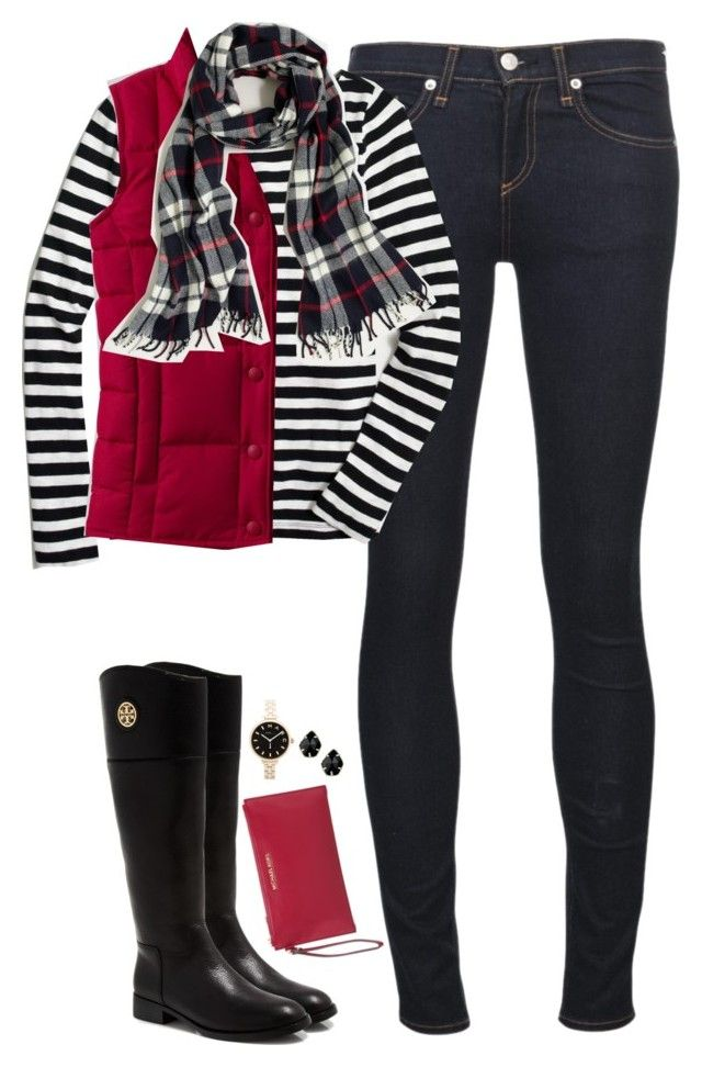 """Red, Black & White"" by steffiestaffie ❤ liked on Polyvore featuring rag & bone/JEAN, Tory Burch, J.Crew, Lands' End, MICHAEL Michael Kors, Kendra Scott and Marc by Marc Jacobs"