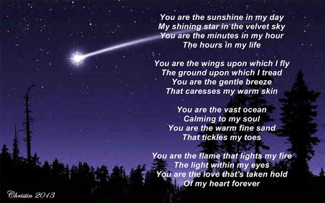 christin 39 s poems about love and life you are my shining