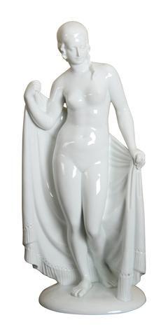 "Rosenthal Porcelain Figure, ""After the Bath"", designed by Wilhelm von Heider…"