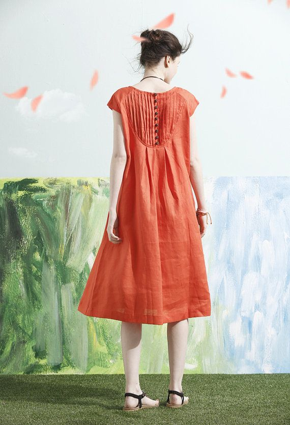 Linen Dress in Orange Tunic Dress Midi Dress Beach by camelliatune