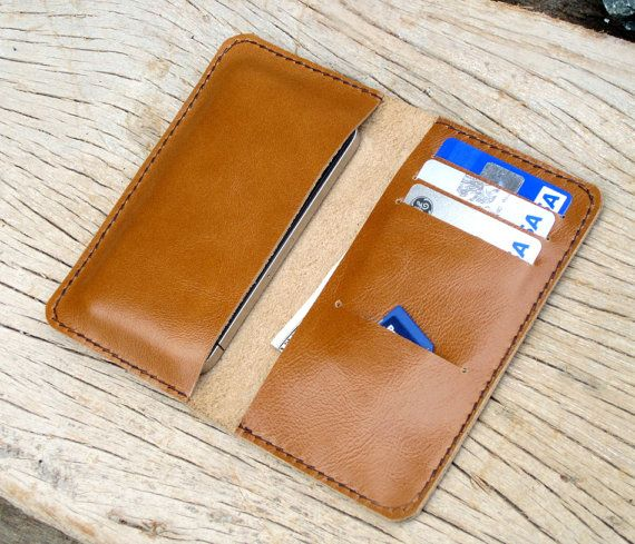 Beige iphone wallet without snapbutton by SakatanLeather on Etsy, $32.00