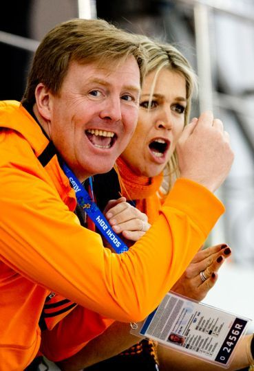 Dutch King Willem-Alexander and Queen Maxima cheering on the Dutch speed skating team. Olympic Games, Sochi 2014. Both are great sports fans and wonderful supporters of dutch teams. Hope they'll never change!
