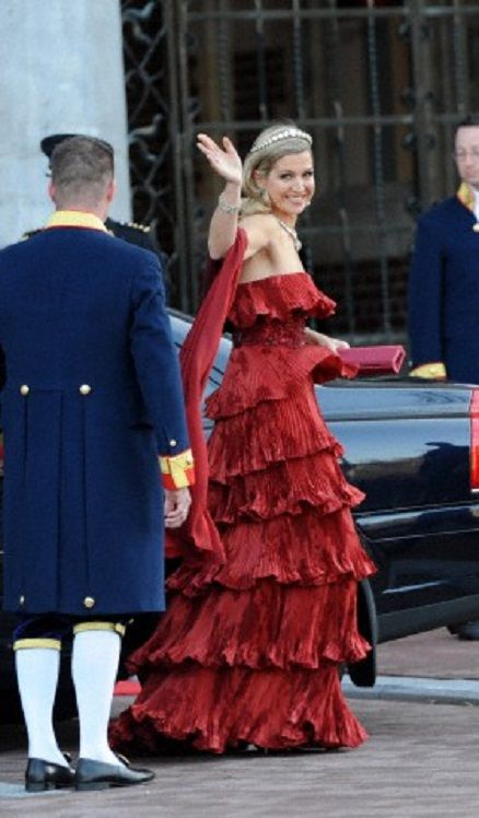 Crown Princess Maxima in Valentino couture as she arrives for the Inauguration of her husband Crown Prince Willem-Alexander, in Amsterdam in April 2013