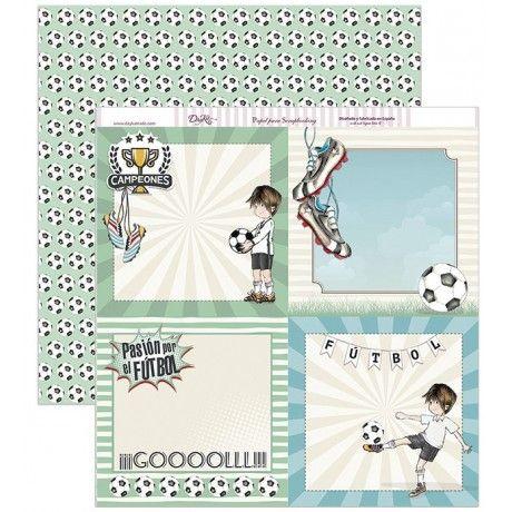 Papel scrapbooking con tarjetas con motivos de fútbol y un estampado de balones por detrás #scrap #conideade #manualidades
