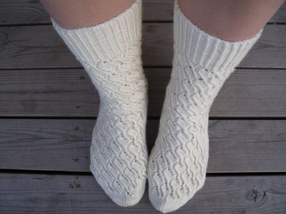 cable knit high wool women socks by JezebelAdrian on Etsy