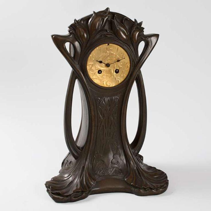 Art Nouveau Bronze Mantel Clock By P H Gautu Modern