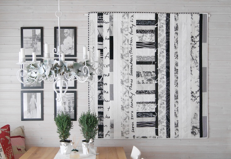 "My quilt ""Black & White"" on the wall in my studio http://meinequiltsundich.blogspot.com"
