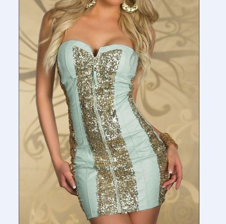 [$14.71]Gorgeous sexy strapless low-cut shining zipper mini dress YR-2913 blue L