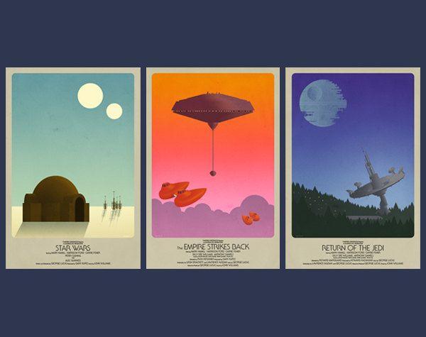 "Star Wars Classic Trilogy Set- 3 Posters (11""x17""). $60.00, via Etsy."
