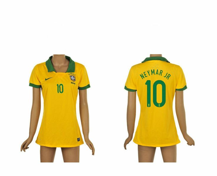 Brésil Femme Maillot Football Domicile 2013/2014 Nike Collection(10 Neymar Jr) #maillotdefootfemme