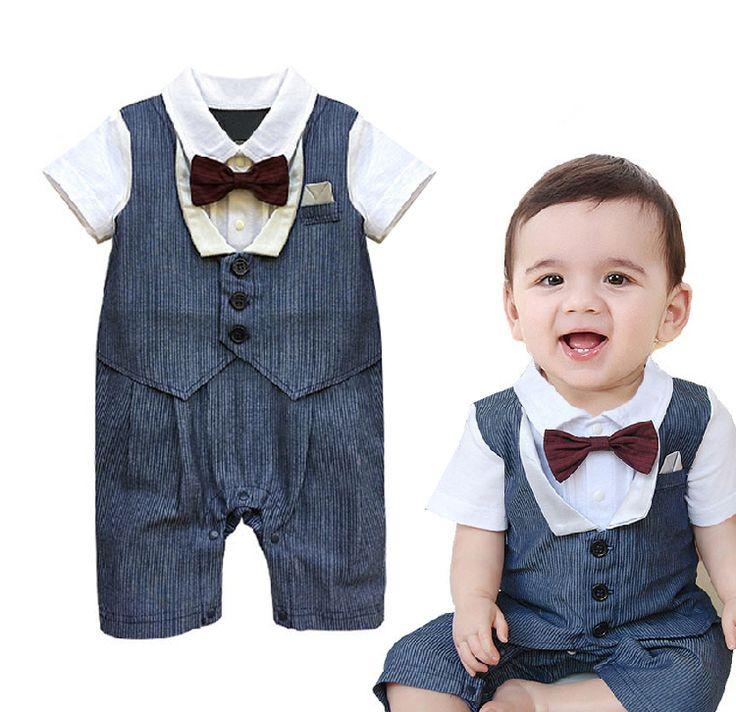 Ребенок Мальчик Детский Комбинезон Новая Мода отложным Воротником Новорожденных джентльмен галстук-бабочка с коротким рукавом комбинезон младенческой ребенок мальчик одежда
