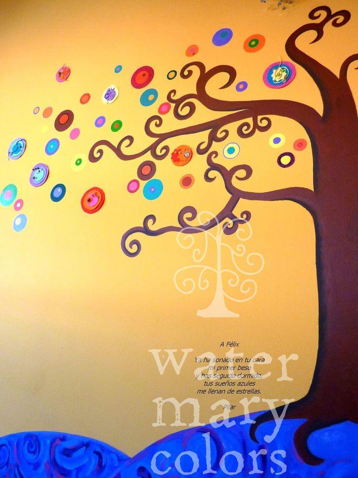 Mural infantil sobre pared utilizando técnica mixta, decorado con fieltro y abalorios.