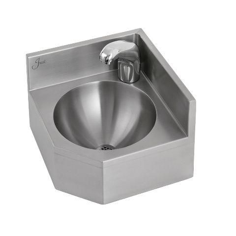 LAVATORY   WALL HUNG SINK   18 GAUGE STAINLESS STEEL   CORNER   WITH SENSOR  FAUCET