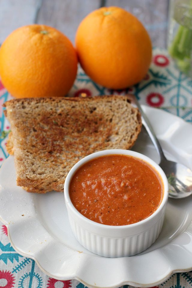Fire-Roasted Tomato Orange Soup with Classic Grilled Cheese - Joanne ...