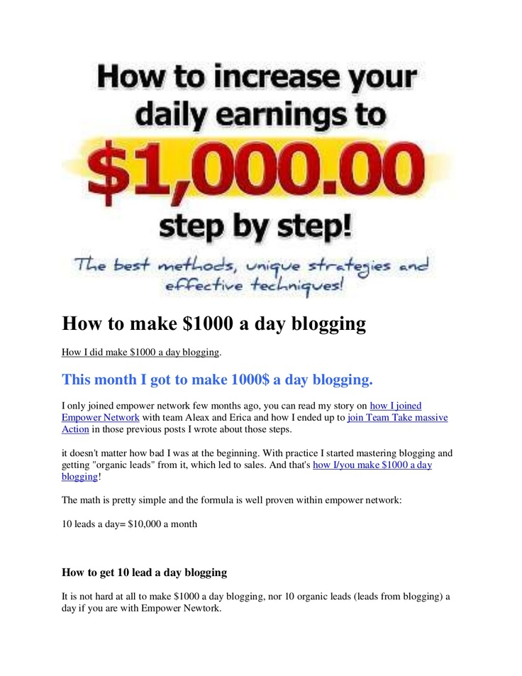 how-to-make-1000-a-day-blogging by Lala Johnson via Slideshare