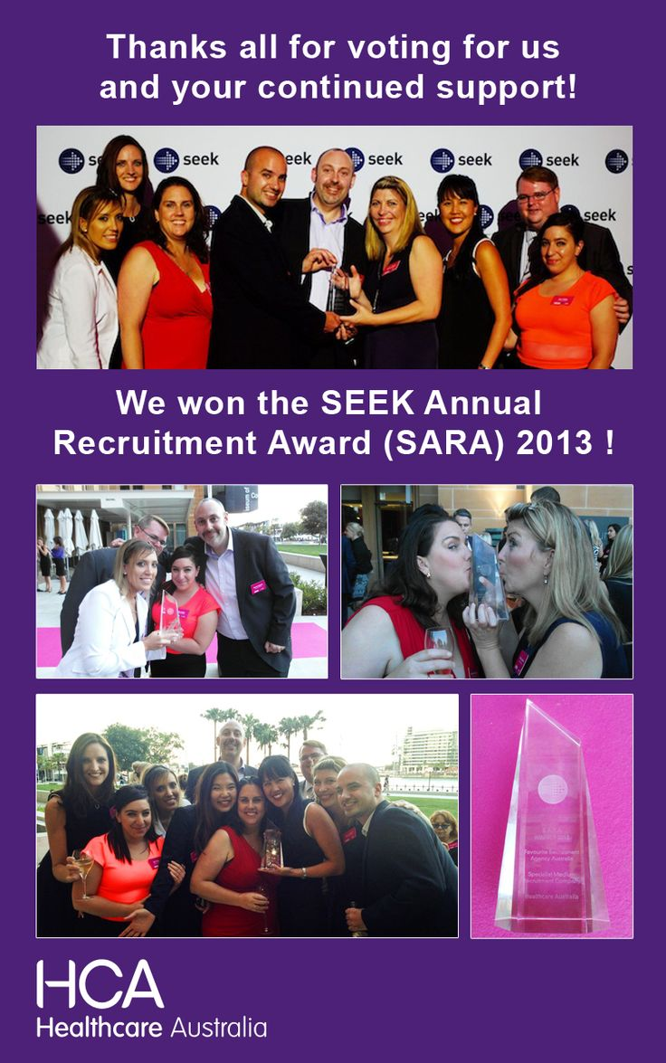 HCA has won the SEEK Annual Recruitment Award (SARA) 2013 for Specialist Medium Recruiter for the second year in a row! Thanks all for voting for us and your continued support!