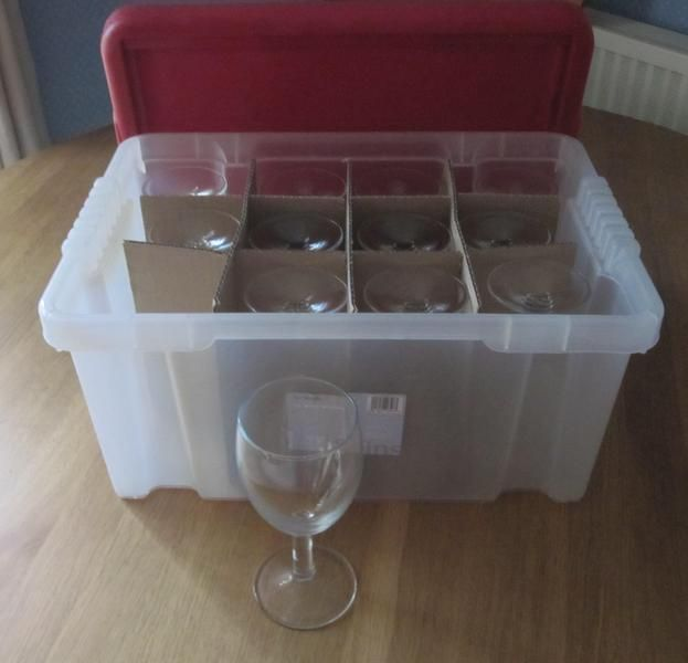 Glasses 12 Wine Glasses And 12 Beer Glasses In Plastic Storage Boxes In Hove Plastic Box Storage Wine Glass Storage Plastic Wine Glass