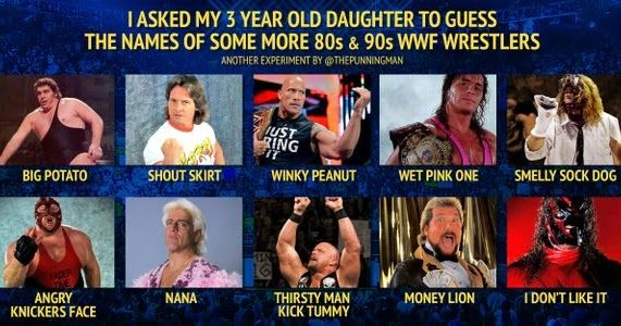 Wrestler names according to a 3 year old #wwe #wwf